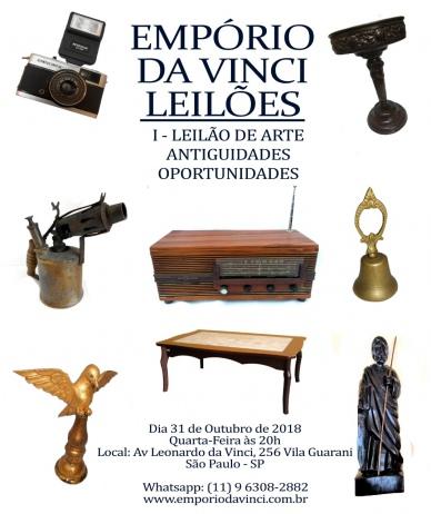 5º Leilão do Empório da Vinci de Antiguidades,Cacarecos, Arte Sacra Barroca e Relógios antigos