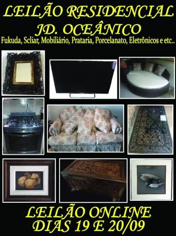 LEILÃO RESIDENCIAL JD OCEÂNICO - Fukuda, Scliar, Cristais, Mobiliário, prataria e etc...