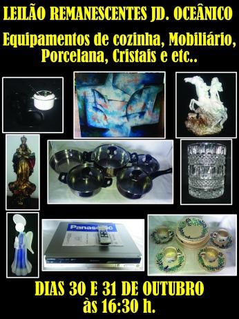 LEILÃO REMANESCENTES JD. OCEÂNICO - Equipamentos de cozinha, Mobiliário, Porcelana, Cristais e etc..