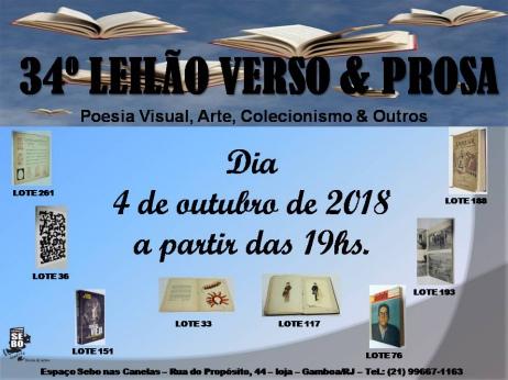 34º LEILÃO VERSO & PROSA - Poesia Visual, Arte, Colecionismo & Outros