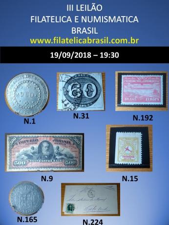 III LEILÃO DE COLECIONISMO FILATÉLICA E NUMISMÁTICA BRASIL