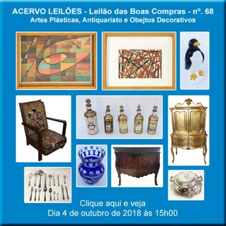 LEILÃO DAS BOAS COMPRAS nº 68 - ACERVO LEILÕES - SP - 4/10/2018