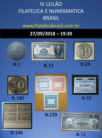 IV LEILÃO DE COLECIONISMO FILATÉLICA E NUMISMÁTICA BRASIL