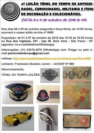 4º LEILÃO TÚNEL DO TEMPO COLECIONISMO, MILITARIA, ANTIGUIDADES E OBJETOS DE DECORAÇÃO